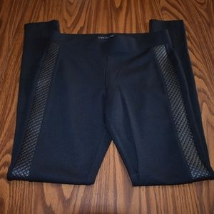 Maurices black leggings with faux leather NWOT